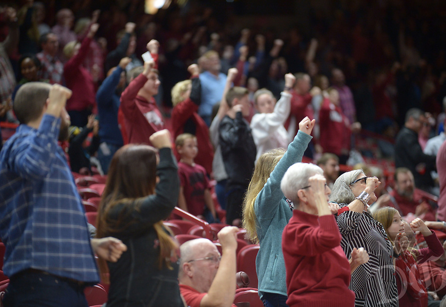 NWA Democrat-Gazette/ANDY SHUPE<br /> Arkansas Austin Peay Friday, Dec. 28, 2018, during the Razorbacks' 76-65 win in Bud Walton Arena. Visit nwadg.com/photos to see more photographs from the game.