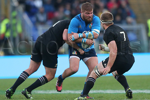12.11.2016. Stadio Olimpico, Rome, Italy. Test match rugby 2016 Italy versus New Zealand. Angelo Esposito is gang tackled during the match.