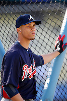 Andrelton Simmons #19 of the Atlanta Braves before a game against the Los Angeles Dodgers at Dodger Stadium on June 6, 2013 in Los Angeles, California. (Larry Goren/Four Seam Images)