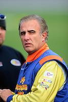 Oct. 3, 2009; Kansas City, KS, USA; NASCAR Nationwide Series driver Derrike Cope during qualifying for the Kansas Lottery 300 at Kansas Speedway. Mandatory Credit: Mark J. Rebilas-
