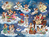 Interlitho-Simonetta, CHRISTMAS CHILDREN, WEIHNACHTEN KINDER, NAVIDAD NIÑOS, paintings+++++,15 angels,heaven,santa,KL6100,#xk#