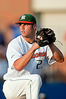 June 12, 2010:    Miami Pitcher Chris Hernandez (27) pitches during game two of NCAA Gainesville Super Regional action between the University of Florida Gators and Miami Hurricanes at Alfred A. McKethan Stadium on the campus of University of Florida in Gainesville.   Florida defeated Miami in 10 innings 4-3 to advance to the College World Series in Omaha, Nebraska...........