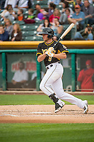 Josh Rutledge (8) of the Salt Lake Bees at bat against the Oklahoma City Dodgers in Pacific Coast League action at Smith's Ballpark on May 27, 2015 in Salt Lake City, Utah.  (Stephen Smith/Four Seam Images)