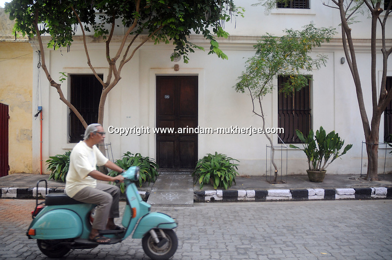 A scooter rider at the French colony in Pondicherry.Arindam Mukherjee/Sipa