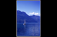 Lake Garda, taken from Riva Del Garda, Italy - June 1997 - <br /> <br /> Lake Garda is the largest lake in Italy. It is located in Northern Italy, about half-way between Brescia and Verona.
