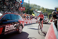 Tim Wellens (BEL/Lotto-Soudal) rolling in up the Mur de Huy<br /> <br /> Fl&egrave;che Wallonne 2016