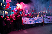 MADRID, SPAIN - DECEMBER 13: Protesters take the Gran Via Street during a demonstration defending public bus services (EMT) on December 13, 2019 in Madrid, Spain. The unions have called on EMT workers to strike to defend public transport in the capital against regional government cuts (Photo by Sergio Belena / VIEWpress).