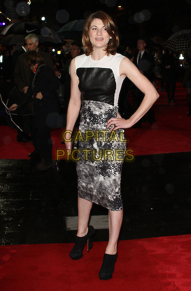 Jodie Whittaker.The 'Great Expectations' closing night gala, the 56th BFI London Film Festival, Odeon Leicster Square cinema, Leicester Square, London, England..October 21st, 2012.full length black white sleeveless leather print dress hand on hip grey gray clutch bag ankle boots booties shooboots shoe .CAP/ROS.©Steve Ross/Capital Pictures