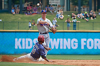 Midland RockHounds shortstop Kevin Merrell (6) throws to first base as Eliezer Alvarez (10) slides in during a Texas League game against the Frisco RoughRiders on May 22, 2019 at Dr Pepper Ballpark in Frisco, Texas.  (Mike Augustin/Four Seam Images)
