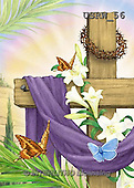 Randy, EASTER RELIGIOUS, OSTERN RELIGIÖS, PASCUA RELIGIOSA, paintings+++++Draped-Cross-Lilies-Bflies,USRW56,#ER#