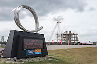 """Sarasota, Florida, USA. General view of the    """"Vortex,"""" by part-time Sarasota resident Malcolm Robertson with construction of the Finish Tower and Grandstand at the Nathan Benderson Park. Rowing Course, for the 2017 FISA World Rowing Championships.  Thursday  27/10/2016 [Mandatory Credit; Peter SPURRIER/Intersport Images]"""