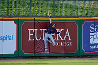 Bowling Green Hot Rods center fielder Michael Smith (1) attempts to rob a home run during a Midwest League game against the Peoria Chiefs at Dozer Park on May 5, 2019 in Peoria, Illinois. Peoria defeated Bowling Green 11-3. (Zachary Lucy/Four Seam Images)
