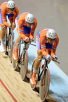 The Dutch team ride in the qualification of the Team Pursuit event on day 1 of the 2012 UCI Track Cycling World Championships at Hisense Arena in Melbourne, Australia. Photo Sydney Low. Copyright Sydney Low. All rights reserved. No reproduction permitted. Access via FlickrAPI not permitted.