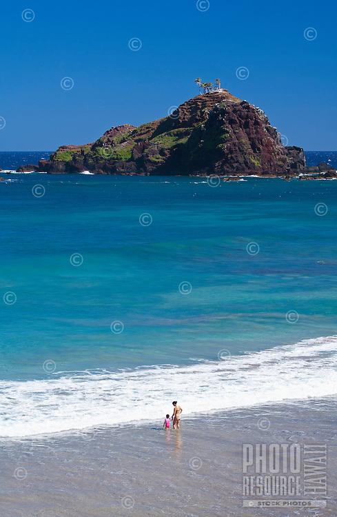 A beautiful day a Koki Beach,Hana, Maui, Hawaii with Alau Isalnd offshore.