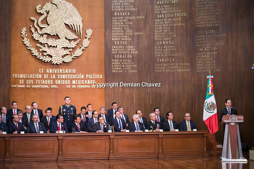 Querétaro, Qro. 5 de febrero de 2018.- El presidente de la República, Enrique Peña Nieto encabezó la CI Conmemoración de la Constitución de los Estados Unidos Mexicanos. El protocolo se llevó acabo en el histórico Teatro de la República.