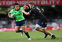 DURBAN, SOUTH AFRICA - MAY 05: Rob Thompson of the Pulse Energy Highlanders looks to hand off Dan du Preez during the Super Rugby match between Cell C Sharks and Highlanders at Jonsson Kings Park Stadium in Durban, South Africa on Saturday, 5 May 2018. Photo: Steve Haag / stevehaagsports.com