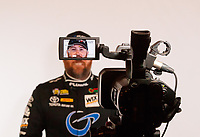 Feb 6, 2019; Pomona, CA, USA; NHRA funny car driver Shawn Langdon is filmed during NHRA Media Day at the NHRA Museum. Mandatory Credit: Mark J. Rebilas-USA TODAY Sports