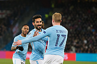 Manchester City's Ilkay Gundogan celebrates scoring his side's first goal with team-mate Kevin De Bruyne <br /> <br /> Photographer Craig Mercer/CameraSport<br /> <br /> UEFA Champions League Round of 16 First Leg - Basel v Manchester City - Tuesday 13th February 2018 - St Jakob-Park - Basel<br />  <br /> World Copyright &copy; 2018 CameraSport. All rights reserved. 43 Linden Ave. Countesthorpe. Leicester. England. LE8 5PG - Tel: +44 (0) 116 277 4147 - admin@camerasport.com - www.camerasport.com