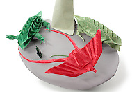 Detail of Origami model.<br /> Tree designed by John Montroll, folded by Rosalind Joyce<br /> Vultures designed by Nguyen Vo Hien Chuong, folded by Rosalind Joyce<br /> Fork Tailed Fly Catcher designed by James Lucas, folded by  Rosalind Joyce<br /> Iguanas designed by Jean Claude Correia, folded by Joe Adia<br /> Grass designed and folded by Rosalind Joyce