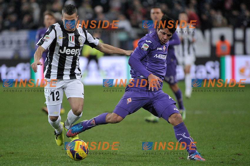 Sebastian Giovinvo  Juventus Facundo Roncaglia Fiorentina.Torino 9/02/2013 Juventus Stadium.Football Calcio Serie A  2012/13.Juventus vs Fiorentina.Foto Insidefoto Federico Tardito