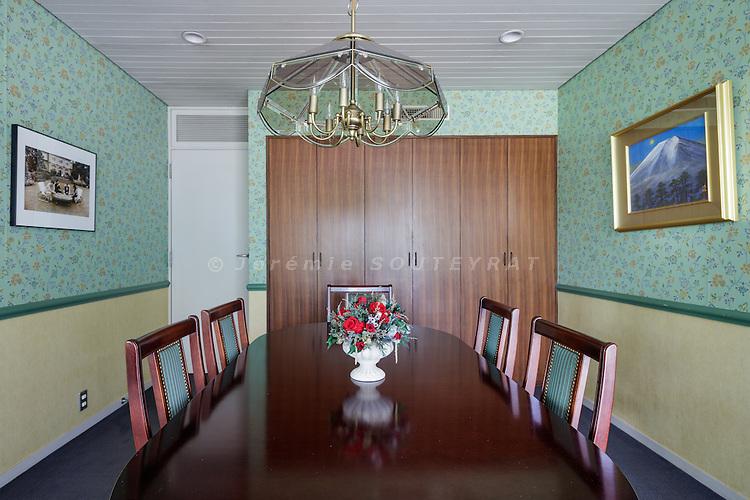 Tokyo, Japan, June 3 2016 - In the dining room of former Prime Minister Yukio Hatoyama's residence.