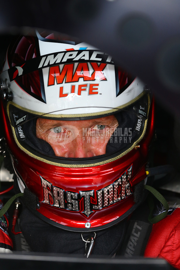Aug. 31, 2013; Clermont, IN, USA: NHRA funny car driver Jack Beckman during qualifying for the US Nationals at Lucas Oil Raceway. Mandatory Credit: Mark J. Rebilas-