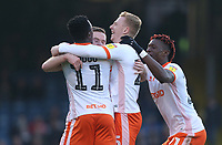 Blackpool's Oliver Turton celebrates scoring his side's first goal with his team mates<br /> <br /> Photographer Rob Newell/CameraSport<br /> <br /> The EFL Sky Bet League One - Southend United v Blackpool - Saturday 17th November 2018 - Roots Hall - Southend<br /> <br /> World Copyright © 2018 CameraSport. All rights reserved. 43 Linden Ave. Countesthorpe. Leicester. England. LE8 5PG - Tel: +44 (0) 116 277 4147 - admin@camerasport.com - www.camerasport.com