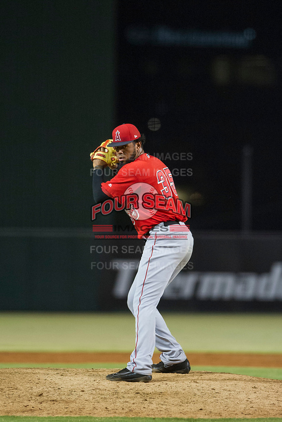 AZL Angels relief pitcher Kida De La Cruz (35) prepares to deliver a pitch during a game against the AZL Indians on August 7, 2017 at Tempe Diablo Stadium in Tempe, Arizona. AZL Indians defeated the AZL Angels 5-3. (Zachary Lucy/Four Seam Images)