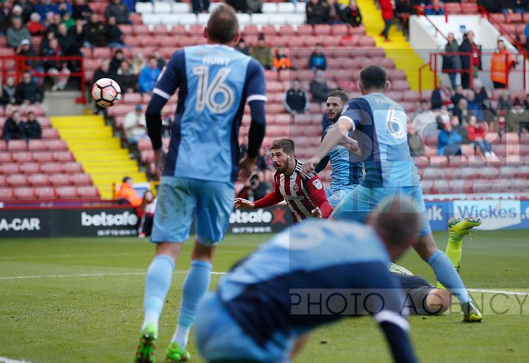 Kieron Freeman of Sheffield Utd scoring during the Emirates FA Cup Round One match at Bramall Lane Stadium, Sheffield. Picture date: November 6th, 2016. Pic Simon Bellis/Sportimage
