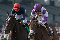 ARCADIA, CA FEBRUARY 10: #2 Mopotism, ridden by Mario Gutierrez, battles #5 Majestic Heat, ridden by Flavien Prat, for the place in the Santa Maria Stakes (Grade ll) at Santa Anita Park in Arcadia, CA.  (Photo by Casey Phillips/ Eclipse Sportswire/ Getty Images)