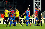 Crystal Palace's James Tomkins and Wilfred Zaha appeal to referee Lee Mason at half time during the premier league match at Selhurst Park Stadium, London. Picture date 12th December 2017. Picture credit should read: David Klein/Sportimage