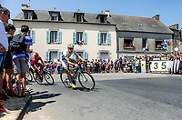 early breakaway group with Laurent Pichon (FRA/Fortuneo Samsic) and Anthony Turgis (FRA/Cofidis) cornering. <br /> <br /> Stage 6: Brest > Mûr de Bretagne / Guerlédan (181km)<br /> <br /> 105th Tour de France 2018<br /> ©kramon