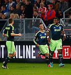 Nederland, Utrecht, 26 september  2012.Seizoen 2012-2013.KNVB Beker.FC Utrecht-Ajax.Ryan Babel (r.) van Ajax juicht nadat hij de 0-2 heeft gescoord. V.l.n.r.: Niklas Moisander, Tobias Sana en Ryan Babel van Ajax