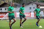 04.07.2019, Parkstadion, Zell am Ziller, AUT, TL Werder Bremen - Tag 00<br /> <br /> im Bild / picture shows 1. Training im TL Zillertal am Mittwoch abend<br /> <br /> Felix Beijmo (Werder Bremen #02)<br /> Claudio Pizarro (Werder Bremen #14)<br /> Yuya Osako (Werder Bremen #08)<br /> <br /> Foto © nordphoto / Kokenge