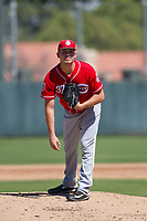 Cincinnati Reds pitcher Nick Howard (37) looks to his catcher for the sign during an Instructional League game against the Oakland Athletics on September 29, 2017 at Lew Wolff Training Complex in Mesa, Arizona. (Zachary Lucy/Four Seam Images)
