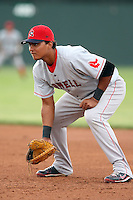 July 10th 2008:  First baseman Carlos Oliva-Fernandez of the Lowell Spinners, Class-A affiliate of the Boston Red Sox, during a game at Dwyer Stadium in Batavia, NY.  Photo by:  Mike Janes/Four Seam Images