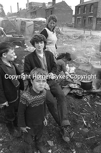 Gypsy inner city camp site Balsall Heath Birmingham UK 1968. The houses are on Emily Street.
