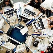 """GORA KALWARIA, POLAND, JUNE  2011:.Consultants working at the """"Call Center Poland"""" call center in Gora Kalwaria near Warsaw. (Photo by Piotr Malecki / Napo Images)..GORA KALWARIA, CZERWIEC 2011:.Telemarketerki w firmie """"Call Center Poland"""". .Fot: Piotr Malecki / Napo Images.***Zdjecie moze byc wykorzystane w prasie, jesli sposob jego uzycia i podpis nie obrazaja osob znajdujacych sie na nim***"""