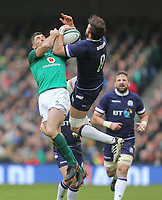 Saturday 10th March 2018 |  Ireland vs Scotland<br /> <br /> Rob Kearney and Ryan Wilson challenge for this high ball  during the NatWest 6 Nations clash between Ireland and Scotland at the Aviva Stadium, Lansdowne Road, Dublin, Ireland. Photo by John Dickson / DICKSONDIGITAL