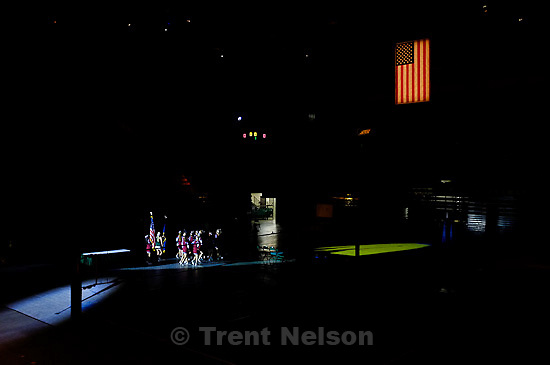 Trent Nelson  |  The Salt Lake Tribune.national anthem. Morgan takes the 3A state high school volleyball championship, defeating Snow Canyon 3-0 at Utah Valley University in Orem, UT on Friday, October 28, 2011.