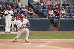 Tuesday, July 14, 2009.  Vancouver Canadians Ryne Jemigan sacrifice bunt in the 6th inning advances Rasun Dixon to 3rd base. The Vancouver Canadians went on to win the game against The Boise Hawks 3-2 at Nat Bailey Stadium in Vancouver.   Photo by Gus Curtis.