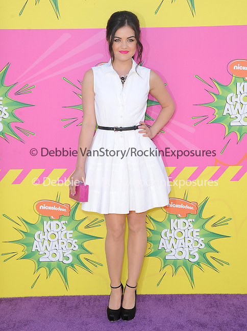Lucy Hale at The Nickelodeon's Kids' Choice Awards 2013 held at The Galen Center in Los Angeles, California on March 23,2013                                                                   Copyright 2013 Hollywood Press Agency