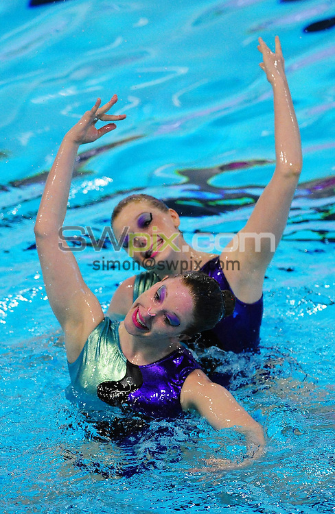 PICTURE BY ALEX BROADWAY/SWPIX.COM - Synchronised Swimming - British Gas Synchronised Swimming Championships 2012 - GL1 Leisure Centre, Gloucester, England - 25/03/12 - Jessica Ranson & Rosie Barrington of City of Leeds Synchronised SC compete in the Free Duet Final.