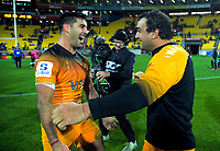 Jaguares captain Jeronimo De La Fuente and Agustin Creevy celebrate winning the Super Rugby match between the Hurricanes and Jaguares at Westpac Stadium in Wellington, New Zealand on Friday, 17 May 2019. Photo: Dave Lintott / lintottphoto.co.nz