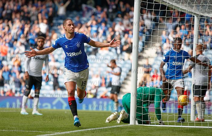 28.07.2019 Rangers v Derby County: Nikola Katic celebrates his goal