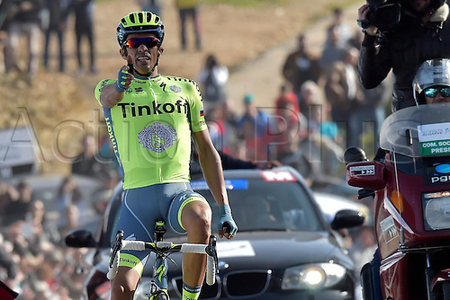 21.02.2016. Almodovor, Algarve, Portugal.  CONTADOR VELASCO Alberto (ESP)  of TINKOFF celebrates the win during stage 5 of the 42nd Tour of Algarve cycling race with start in Almodovar and finish in Malhao (Loule) on February 21, 2016 in Malhao, Portugal.