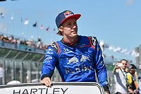 March 25, 2018: Brendon Hartley (NZL) #28 from the Red Bull Toro Rosso Honda team waves to the crowd during the drivers' parade at the 2018 Australian Formula One Grand Prix at Albert Park, Melbourne, Australia. Photo Sydney Low