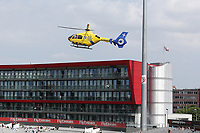 The air ambulance arrives to attend a medical emergency during Lancashire CCC vs Essex CCC, Specsavers County Championship Division 1 Cricket at Emirates Old Trafford on 11th June 2018
