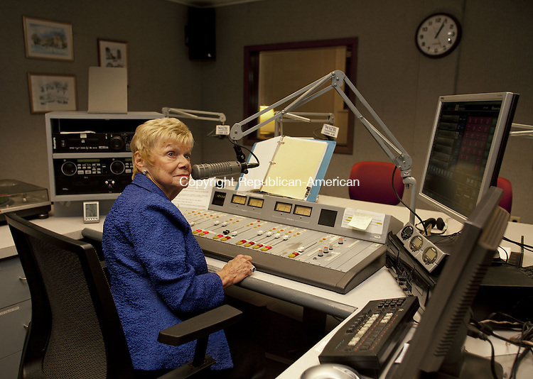 WATERBURY, CT-20 NOVEMBER 2013-112013BF04- WATR radio personality Barbara Davitt is seen in the WATR studio where she has hosted her daily Coffee Break show for more than 45 years. Bob Falcetti Republican-American