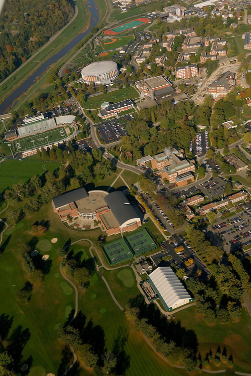 Aerial view of the Athletic Mall, Charles J. Ping Center, and West Green. © Ohio University